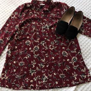 J. Jill Maroon Floral Button Up Long Sleeve Shirt